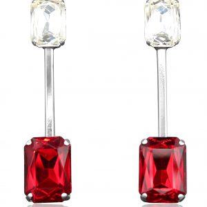 orecchini lunghi con cristalli rossi e bianchi