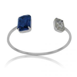 bracciale rigido con cristalli blu e bianchi