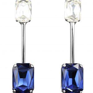 orecchini lunghi con cristalli blu e bianchi