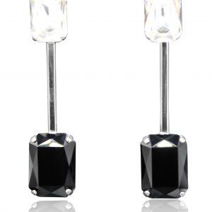 orecchini lunghi doppio cristallo bianco nero